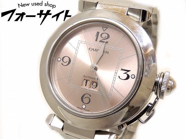 Cartier カルティエ■パシャC ビッグデイト ステンレス ピンク 文字盤 自動巻き メンズ レディース 時計□30E