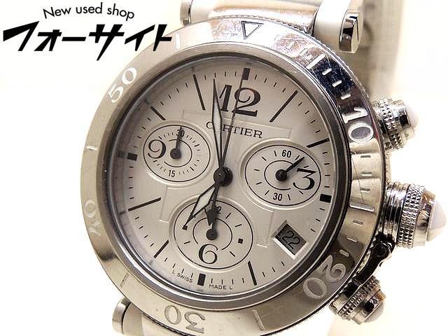 Cartier カルティエ■パシャ シータイマー MM ホワイト ステンレス ラバー ブレス クロノグラフ 時計□29S 30S
