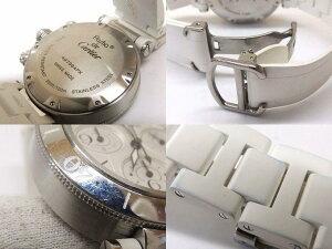 Cartierカルティエ■パシャシータイマーMMホワイトステンレスラバーブレスクロノグラフ時計□29S30S