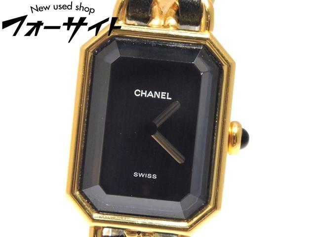 CHANEL シャネル☆H0001 プルミエール(Mサイズ)ゴールドカラー×ブラックレザー レディース クォーツ 時計▼30G