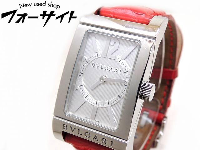 BVLGARI ブルガリ■RT39S レッタンゴロ ステンレス ホワイト 文字盤 クロコ レッド ベルト クオーツ レディース 時計□30G
