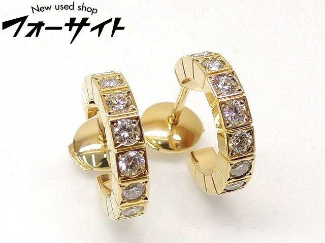 新品同様 Cartier カルティエ■K18 YG イエローゴールド フルダイヤ ラニエール ピアス□30G