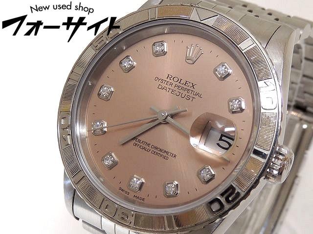 ROLEX ロレックス■16264G W品番 サンダーバード デイトジャスト ダイヤ ピンク文字盤 メンズ 時計 自動巻き ステンレス□30H