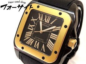 美品 Cartier カルティエ■W2020009 サントス100LM ステンレス×K18 ブラック カーボン ベルト 自動巻き メンズ 時計□31A
