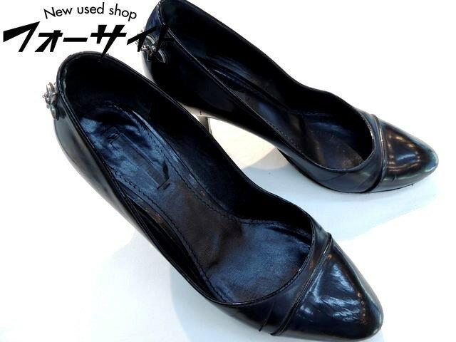 ヴィトン■ヒールチャーム付き パンプス サイズ37(約24cm)∞ブラック レザー 靴 LOUIS VUITTON 31A