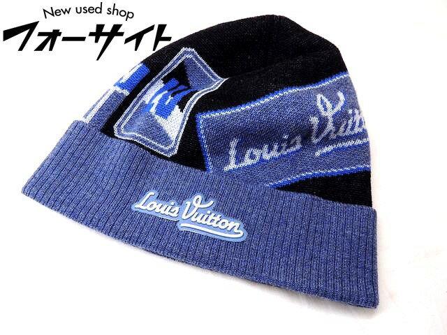 """新品同様品 LOUIS VUITTON ルイ・ヴィトン☆ニット帽 """"ボネ・トラベルスタンプス"""" ウール100% M70729"""