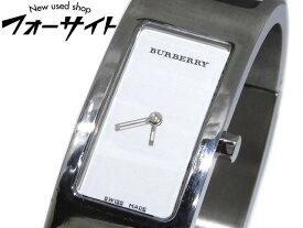 BURBERRY バーバリー☆14300L シルバーSS×ブラック チェック柄ラバー×白文字盤 バングル型 クォーツ 時計▼レディース 1J