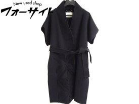美品 フェンディ FENDI■FF8011 サイズ38 ウール 半袖 ノーカラー コート 黒/ブラック ベルト レディース∞ジャケット 1J