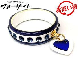 ミュウミュウ バングル ■ ハート モチーフ ブルー ストーン プラスチック ブレスレット miumiu □2I