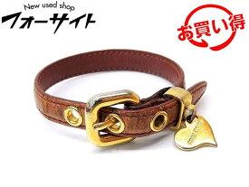 ミュウミュウ ブレスレット ■ ハート チャーム ゴールド金具 クロコ 型押し ピンク レザー miumiu □2I