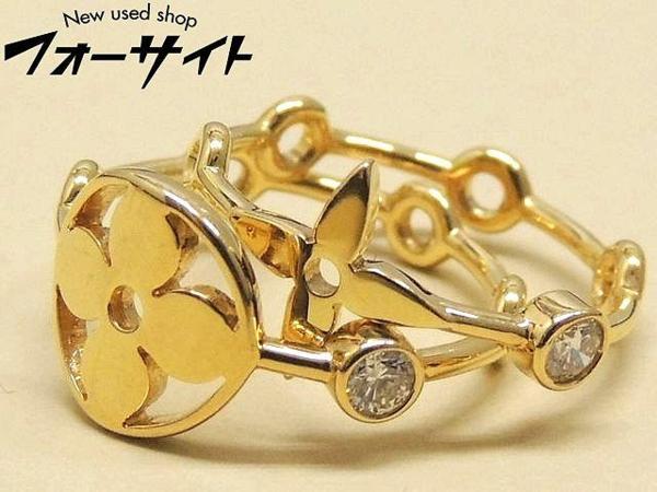 #9(49) 新品同様 Louis Vuitton ヴィトン■K18YG イエローゴールド ダイヤ バーグモノグラム リング 指輪□29S