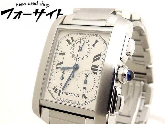 Cartier カルティエ■2303 タンクフランセーズ クロノリフレックス ホワイト 文字盤 ステンレス クォーツ メンズ 時計□30G