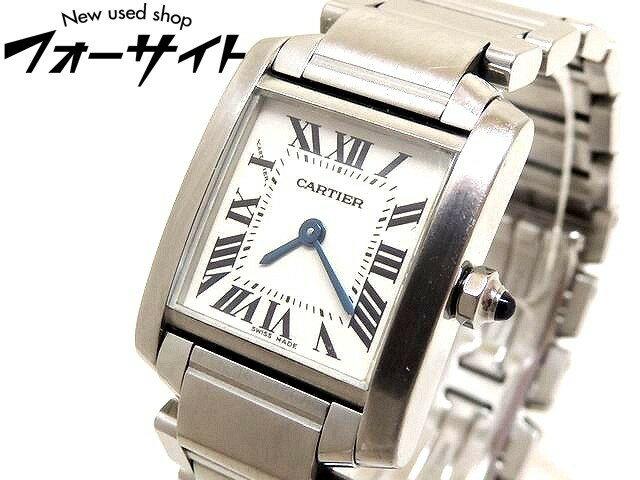 Cartier カルティエ■タンクフランセーズ SM ステンレス ホワイト 文字盤 クォーツ レディース 時計□30G