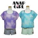 水着 ジュニア 女の子 ANAP GIRL アナップガール(360851)Tシャツ付き ボーダー柄コンビネゾン水着 140 150 160cm ワン…