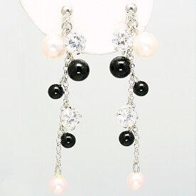 淡水真珠と模造オニキス キュービックジルコニアの14金ホワイトゴールドイヤリング