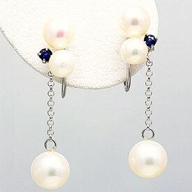 14金ホワイトゴールド サファイアと淡水真珠のイヤリング