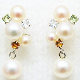 14金ホワイトゴールド天然カラーストーンと淡水真珠のピアス