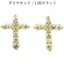 18金ダイヤモンドクロスピアス