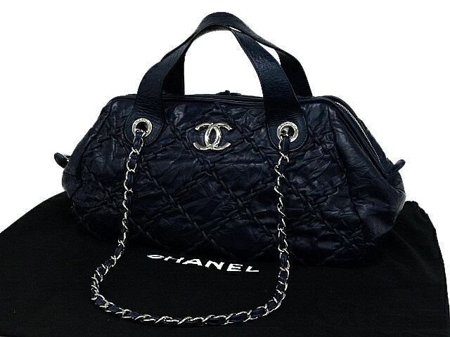 富士屋◆送料無料◆シャネル CHANEL 31RUE CAMBON カンボンライン ダークブルー 2wayバッグ【中古】