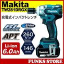 マキタ TW281DRGX (18V/6.0Ah) 充電式インパクトレンチ インパクトレンチ 18V リチウムイオン充電池×2個 Makita 電動レンチ 充電...