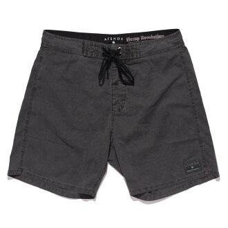 "NEW!2016年最新作品Afends Hemp Trunk 2.0 Fixed Waist Board Short 16.5""Black Oil afenzubodoshotsu游泳衣海面包人"