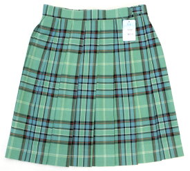 制服スカート【大きいサイズ】【KR384】W75〜85 KURI-ORI(クリオリ) ライトグリーンチェック 丈48