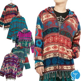 エスニック パーカー ジャケット ジップアップ アウター メンズ レディース あったか 秋 冬 エスニックファッション アジアンファッション フリンジ かわいい ネイティブ柄