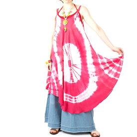 タイダイ ワンピース キャミソール 5カラー 2タイプ 【エスニックファッション アジアンファッション レディース エスニック アジアン キャミワンピ かわいい ゆったり おしゃれ EDM BOHO コーデ パリピ ファッション】