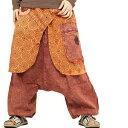 エスニック サルエルパンツ メンズ レディース ブラウン 3タイプ エスニックファッション アジアンファッション サルエル パンツ アラジンパンツ ロングパンツ ゆったり 大きめ 秋
