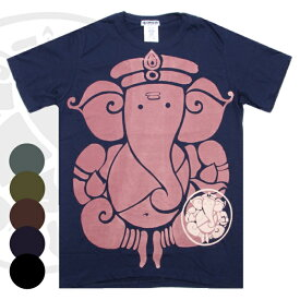 エスニック Tシャツ ガネーシャ 半袖 メンズ レディース S-XL 5カラー エスニックTシャツ アジアンTシャツ かわいい インド 神様 ぞう ぞうさん