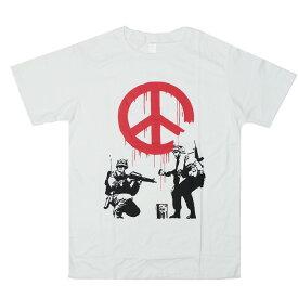 Tシャツ 半袖 ピースマーク 戦争と平和 【ファッション メンズ レディース ピース ヒッピー 風刺 メッセージ ラブ&ピース】