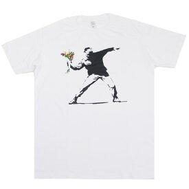 Tシャツ 花束を投げる青年 【ファッション メンズ レディース 半袖 インパクト 反戦 愛 平和 PEACE ピース ピースマーク 花束 壁画】