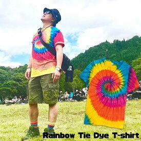 タイダイ tシャツ レインボー メンズ レディース EDM ファッション ネオンカラー BOHO コーデ パリピ ファッション フェス ファッション アジアン エスニック
