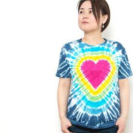 【24時間タイムセール】タイダイ tシャツ ハート レインボー EDM ファッション ネオンカラー BOHO コーデ パリピ ファッション フェス ファッション アジアン エスニック