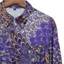 シャツ メンズ ペイズリー サテン M L【メンズファッション カジュアルシャツ 長袖シャツ ちょいワル チンピラ ヤンキ…