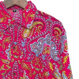 シャツ メンズ ペイズリー M L ピンク メンズファッション カジュアルシャツ 長袖シャツ ちょいワル チンピラ ヤンキー オラオラ系 黒 大きいサイズ バンド ミュージシャン ステージ衣装 ロック ストーンズ スライダーズ