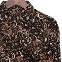 シャツ メンズ ペイズリー M L ブラック 【メンズファッション カジュアルシャツ 長袖シャツ 大人 ちょいワル チンピラ ヤンキー オラオラ系 黒 大きいサイズ バンド ミュージシャン ステージ衣装 ロック ストーンズ スライダーズ】