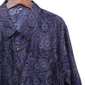 ペイズリー シャツ 半袖 メンズ レディース ブルー S カジュアルシャツ 半袖シャツ アロハシャツ 派手 かっこいい バンド ステージ衣装