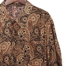シャツ メンズ ペイズリー ブラウン S M L XL メンズファッション カジュアルシャツ 半袖シャツ アロハシャツ 大きいサイズ バンド ステージ衣装 ストーンズ スライダーズ