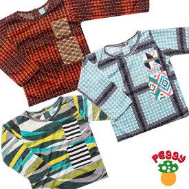 子供服 Tシャツ 長袖 80-130サイズ 【ファッション キッズ 男の子 女の子 ロンT チェック かわいい おしゃれ 個性的 レトロ】