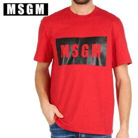 MSGM エムエスジーエムボックス ロゴ Tシャツ 2640 MM67ブラックレッド メンズ