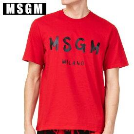 MSGM エムエスジーエムロゴ Tシャツ 2640MM97 レッド メンズPAINT BRUSHED LOGO