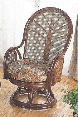 (ラウンドチェアーハイタイプTK-901)ブラウン籐籐家具座椅子椅子イス回転式アジアンリビングルーム籐(ラタン)製輸入品完成品【smtbーMS】