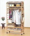 上棚付ワイドハンガーラック 幅75cmタイプ W-683 ライトブラウン 籐 籐家具 ハンガーラック ラック クローゼット アジアンリビングルー…