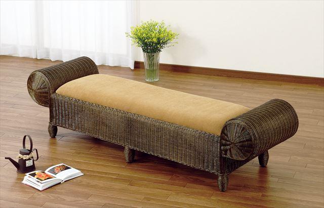 ベンチ Y-125B ブラウン 籐 籐家具 ベンチ 椅子 イス アジアンリビングルーム籐 ラタン 製 輸入品 完成品