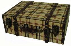 ウッドボックス/トランク型ボックス/小物入れ/タータンチェック/1点/sun-4860505s1