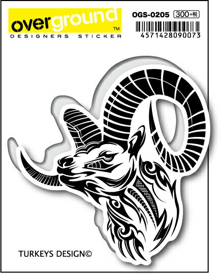 OGS-0205 / TURKEYS DESIGN / ヤギ/トライバル(アーティストグッズ、イラストレーターステッカー)OVERGROUND by ゼネラルステッカー