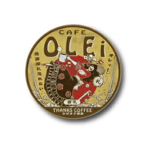 AM09 CAFE OLEiお礼 32mm缶バッジ ニッポン!昭和レトロ風絵はがき 安楽雅志