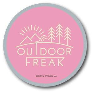 アウトドアステッカー アウトドアフリーク ロゴ ピンク OD04 キャンプ ステッカー グッズ