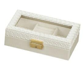 ジュエリーボックス ジュエリートランク アクセサリーケース 白 ガラス オシャレ ホワイト